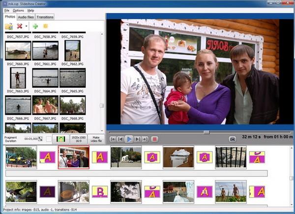 ฟรีโปรแกรมสร้างภาพสไลด์ Bolide Slideshow Creator